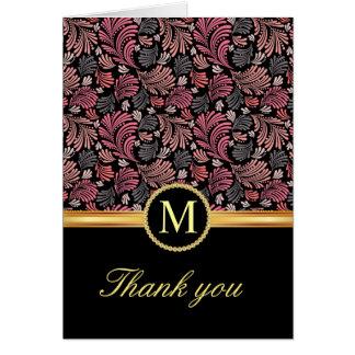 El monograma floral del vintage le agradece las ta felicitación