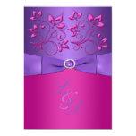 El monograma floral fucsia púrpura IMPRESO del Invitación 12,7 X 17,8 Cm