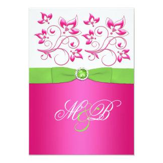 """El monograma floral rosado, verde, blanco invita invitación 5"""" x 7"""""""