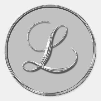 El monograma formal de plata L sello RSVP del boda Pegatina Redonda