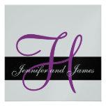 El monograma H de la invitación de la bodas de pla
