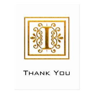 El monograma I de oro elegante le agradece las pos Tarjeta Postal
