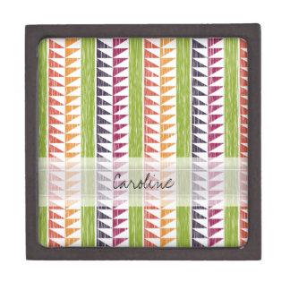 El monograma Ikat geométrico multicolor raya el Cajas De Regalo De Calidad
