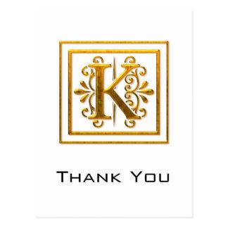 El monograma K de oro elegante le agradece las pos Tarjetas Postales