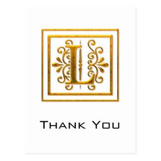 El monograma L de oro elegante le agradece las pos Tarjetas Postales