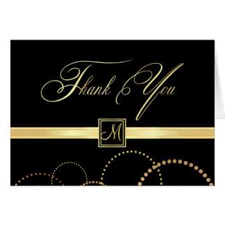 El monograma le agradece las tarjetas - negro y or