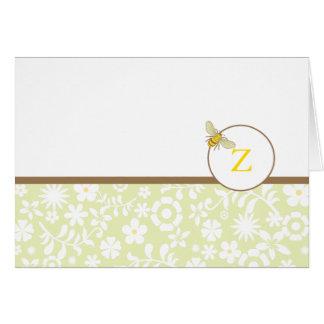 El monograma manosea la nota de la abeja o le agra tarjeta pequeña