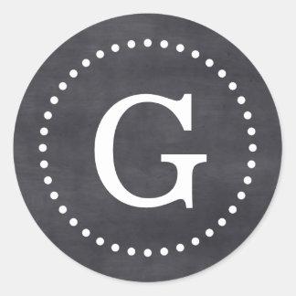 El monograma negro DF de la pizarra sella la Pegatina Redonda