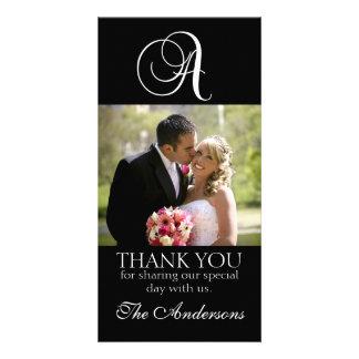 El monograma negro un boda le agradece tarjeta de  tarjeta fotográfica