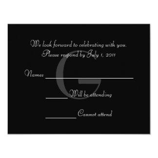 El monograma negro y blanco del vintage responde invitación 10,8 x 13,9 cm