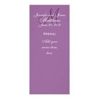 El monograma nombra las tarjetas del menú del boda plantillas de lonas