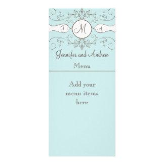 El monograma nombra las tarjetas del menú del boda lonas