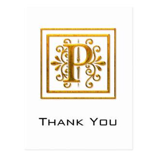 El monograma P de oro elegante le agradece las pos Postal