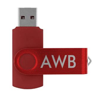 El monograma PERSONALIZA rojo Pen Drive Giratorio USB 2.0