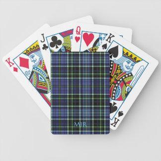 El monograma pone verde la tela escocesa de tartán baraja de cartas