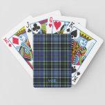 El monograma pone verde la tela escocesa de tartán barajas de cartas