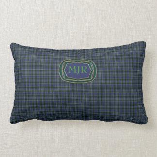 El monograma pone verde la tela escocesa de tartán cojin