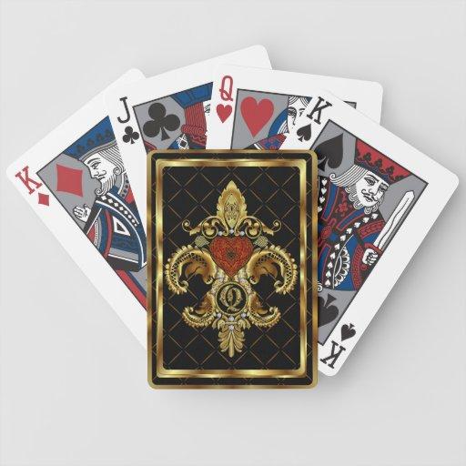 El monograma Q uno de las tarjetas de una opinión Baraja Cartas De Poker
