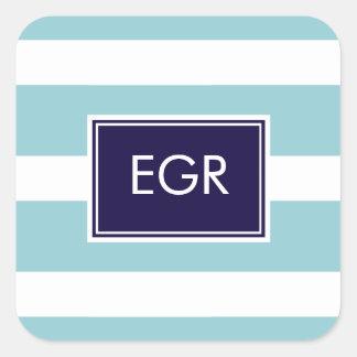 El monograma raya las etiquetas/pegatina pegatina cuadrada