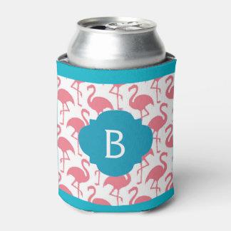 El monograma rosado del flamenco puede enfriador de latas