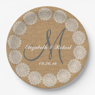 El monograma rústico de la arpillera del boda platos de papel