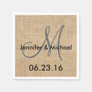 El monograma rústico del boda de la arpillera servilletas desechables