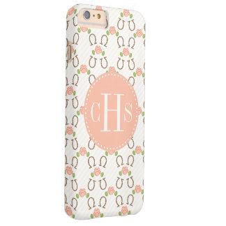 El monograma se ruboriza color de rosa y herradura funda de iPhone 6 plus barely there