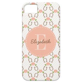 El monograma se ruboriza color de rosa y herradura iPhone 5 Case-Mate cobertura