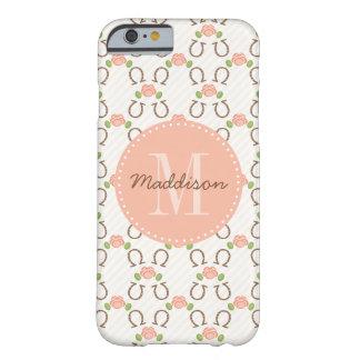 El monograma se ruboriza color de rosa y herradura funda de iPhone 6 barely there