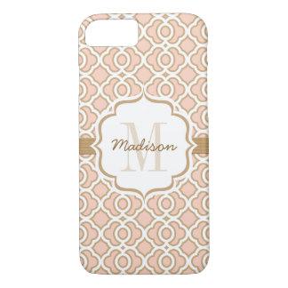 El monograma se ruboriza rosa y oro Quatrefoil Funda iPhone 7