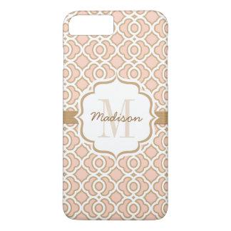 El monograma se ruboriza rosa y oro Quatrefoil Funda iPhone 7 Plus