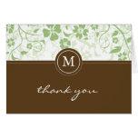 El monograma verde floral de Brown le agradece car Tarjetas