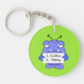 El monstruo azul con café de la mañana gobierna la llavero redondo acrílico a una cara