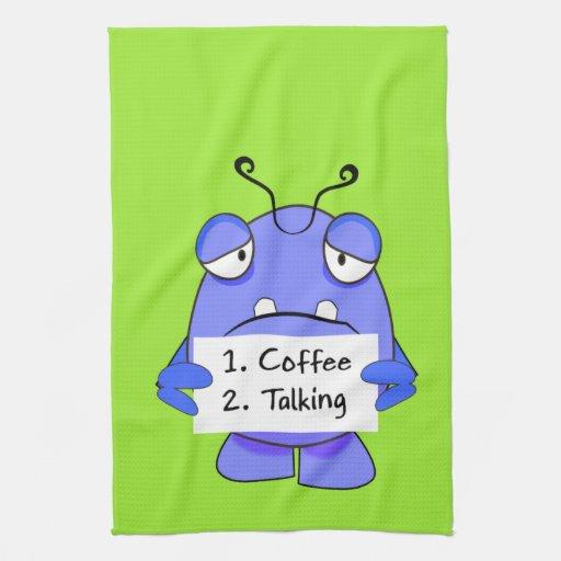 El monstruo azul con café de la mañana gobierna la toallas de cocina