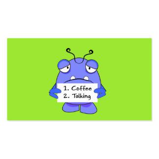 El monstruo azul con café de la mañana gobierna la tarjetas de visita
