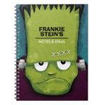 El monstruo de Frankenstein gruñón personalizado Libros De Apuntes Con Espiral