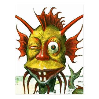 El monstruo de mar amistoso postal