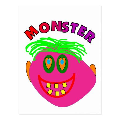 "El monstruo embroma los regalos ""arte rosado tarjeta postal"