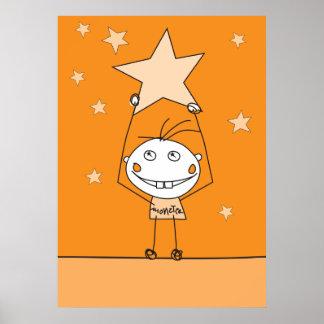 el monstruo feliz anaranjado está cogiendo una est poster