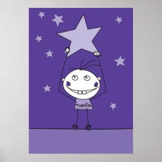 el monstruo feliz púrpura está cogiendo una estrel poster