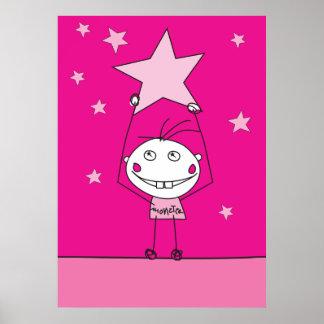 el monstruo feliz rosado está cogiendo una estrell poster