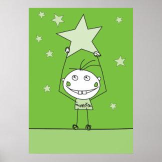 el monstruo feliz verde está cogiendo una estrella posters
