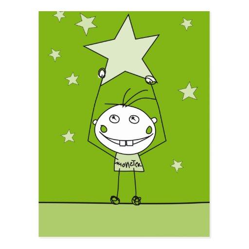 el monstruo feliz verde está cogiendo una estrella tarjeta postal