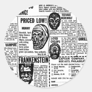 El monstruo retro del kitsch del vintage de pegatina redonda