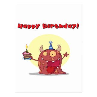 El monstruo rojo celebra cumpleaños con la torta postal