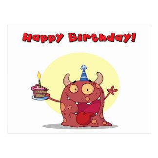 El monstruo rojo celebra cumpleaños con la torta tarjetas postales