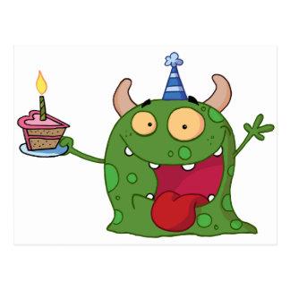El monstruo verde celebra cumpleaños con la torta tarjetas postales