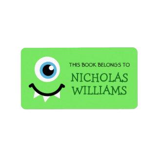 El monstruo verde embroma la etiqueta del libro etiqueta de dirección