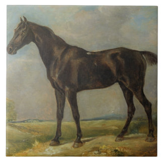 El Montar a caballo-Caballo negro del policía de G Azulejo Cuadrado Grande