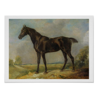 El Montar a caballo-Caballo negro del policía de G Póster